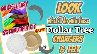 LOOK what I do with these Dollar Tree CHARGERS & FELT | QUICK & EASY DIY