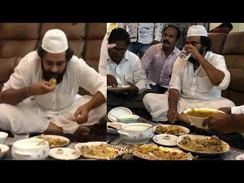 పవన్ కళ్యాణ్ బిర్యానీ ఎలా తింటున్నాడో చూడండి...Pawan Kalyan Eating Biryani In Guntur..Janasena