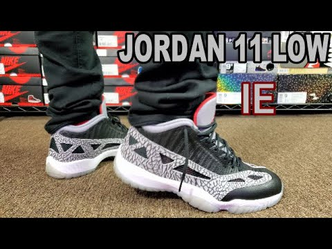 Air Jordan 11 Low Ie Black Cement Review On Feet Youtube