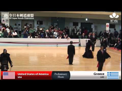 (USA)America (8)4 - 0(0) Greece(GRE) - 16th World Kendo Championships - Men's Team