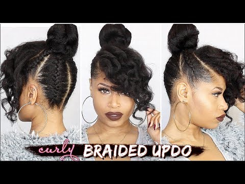 French Braided Curly Updo Natural Hair Tutorial Youtube