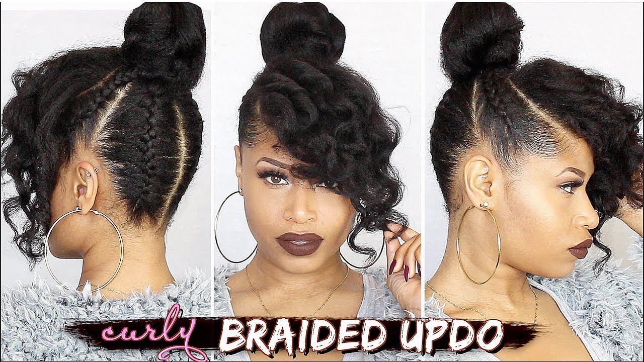 FRENCH BRAIDED CURLY UPDO Natural Hair Tutorial