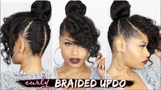 FRENCH BRAIDED CURLY UPDO ➟ Natural Hair How-To