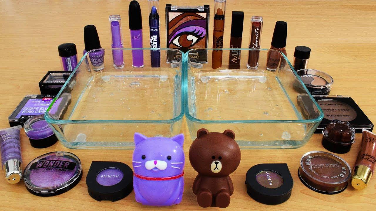Purple vs Coco Brown - Mixing Makeup Eyeshadow Into Slime! Special Series 104 Satisfying Slime Video