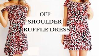 DIY Ruffle-off shoulder dress
