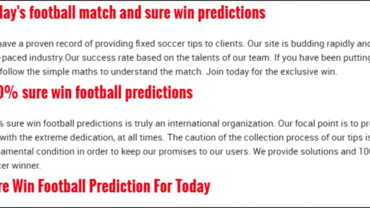 soccer predictions for today's fixtures
