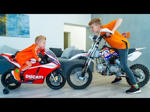 ПОРУГАЛИСЬ...Кто КРУЧЕ???Tisha And Dania Ride A Children's Motorcycle In The HOUSE.