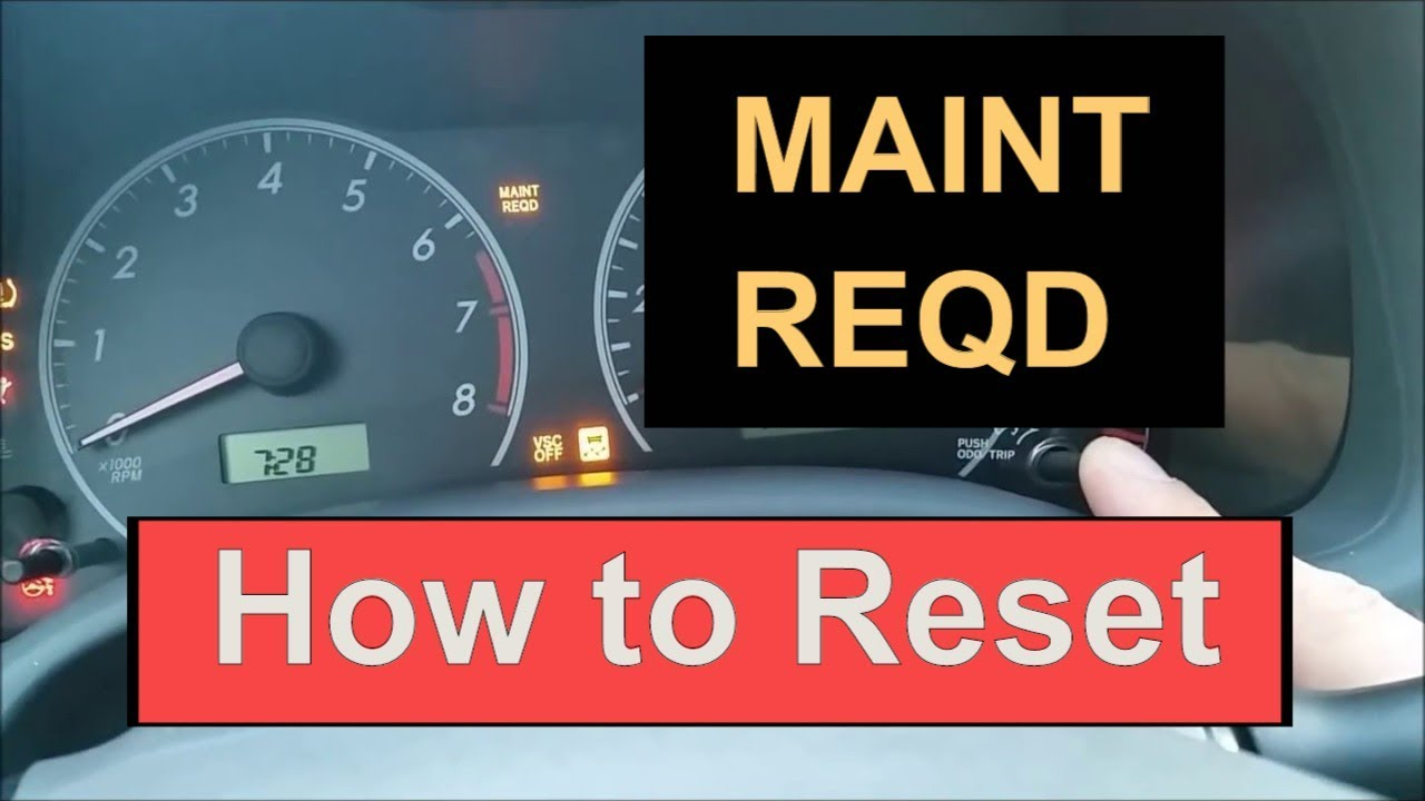 How To Reset Oil Maintenance Required Light In 2008 2017 Toyota Corolla