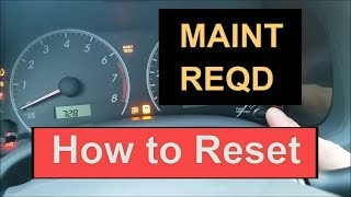 How Reset Oil Maintenance Required Light Toyota Corolla