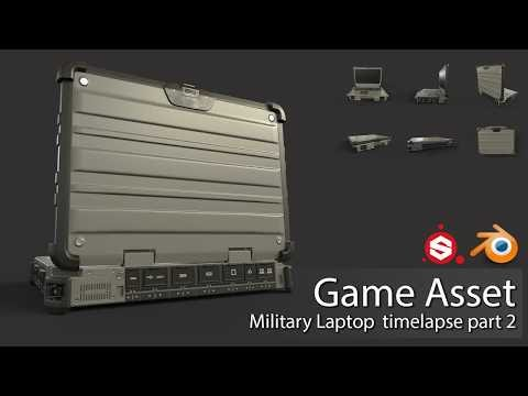 Game Asset: Military Laptop. Blender & Painter (Timelaps part 2)