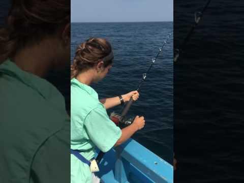 Tara reeling in fish