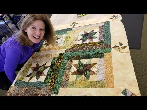Thumbnail: Part 2: Pin Wheel Border | Starry Log Cabin Quilt From a Jelly Roll!