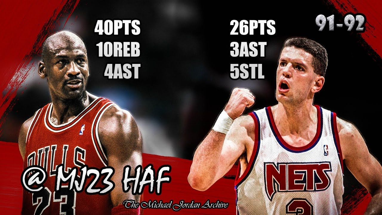 abf420c82d3 Michael Jordan vs Dražen Petrović Highlights Bulls vs Nets (1992.03.17) -  66pts combined!