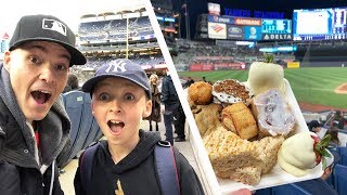 Game-used baseballs and a TON of free food at Yankee Stadium
