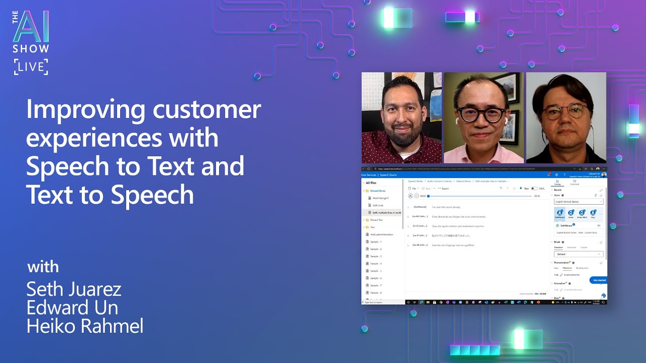 AI Show Live | Improving customer experiences with Speech to Text and Text to Speech