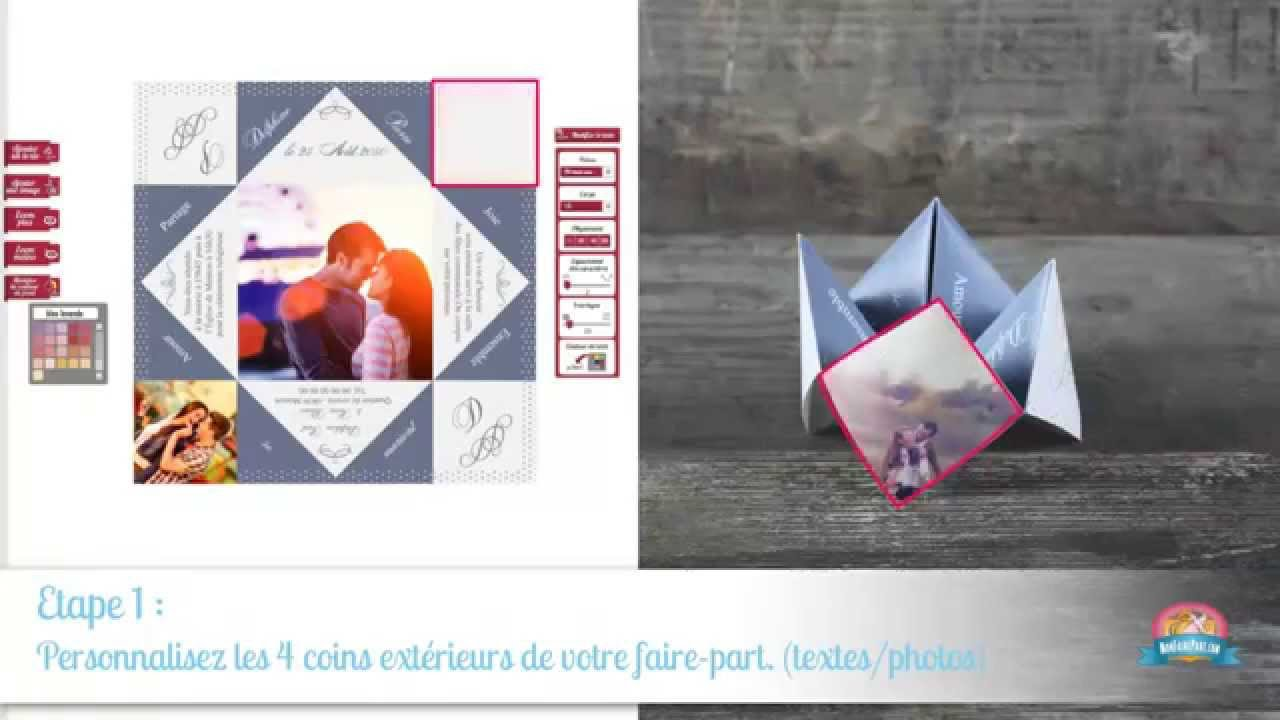 Gut bekannt Tuto personnalisation faire-part Cocotte/Origami - YouTube AH33