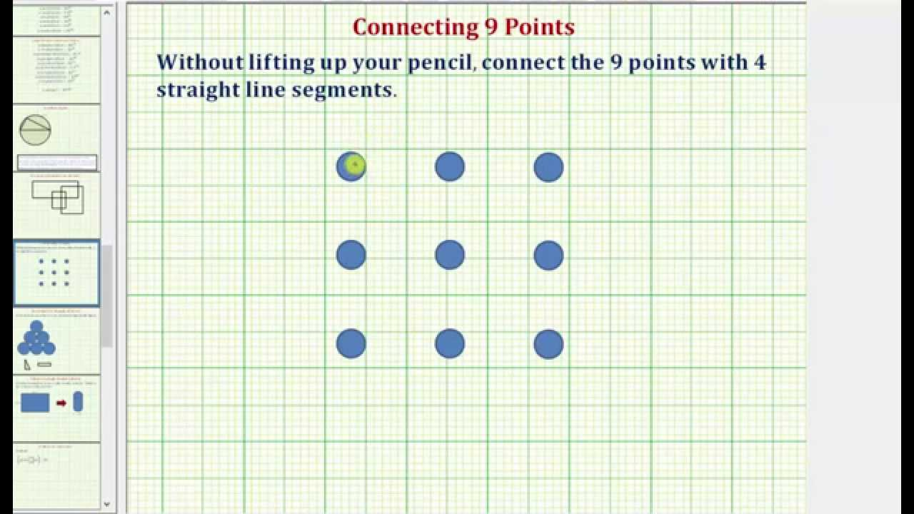 Connect 9 Points With 4 Line Segments Without Lifting Up