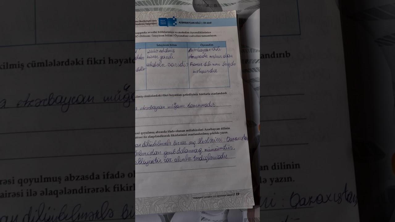 Azərbaycan dili 9-cu sinif DİM 1.Bölmə Dil,təhsil və cəmiyyət ,açıq suallar, A variantı cavabları