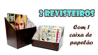 2 Revisteiros com 1 Caixa de Papelão 📦 (ARTESANATO, DIY, RECICLAGEM)