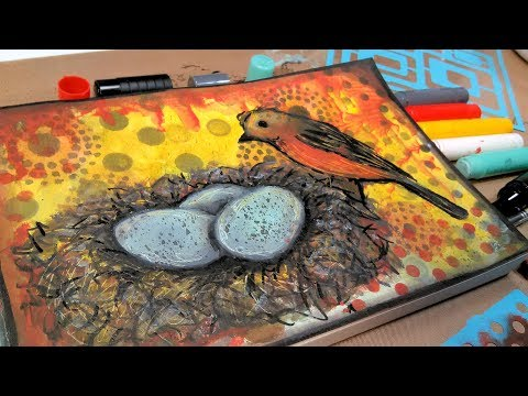 Birds Nest Mixed Media Real Time Tutorial // Smart Art Box July