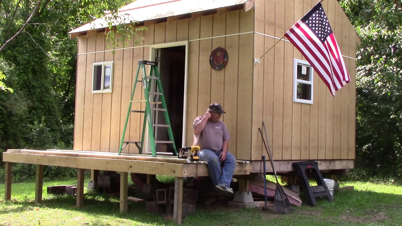 12x16 off grid cabin pt 15 deck boards good news youtube for 16 by 16 deck plans