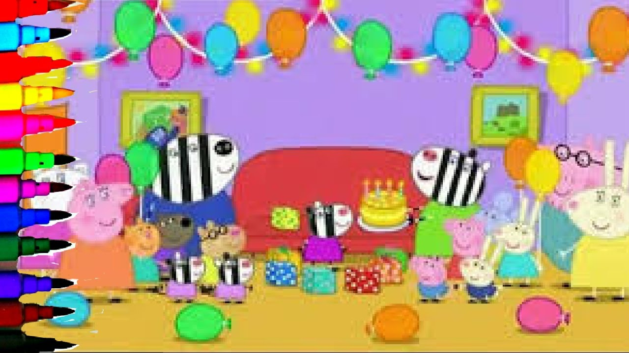 Peppa Pig - Happy Birthday George BEST LEARNING Coloring Book Pages Rainbow  Colors - Videos For Kids
