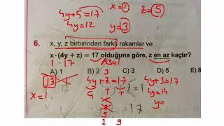 Karekök tam sayılar doğal sayılar test 10