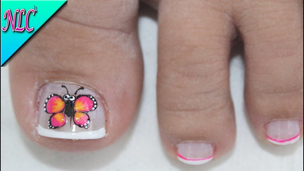 Diseno Para Unas Cortas Mariposa Para Pies Butterfly Nail Art