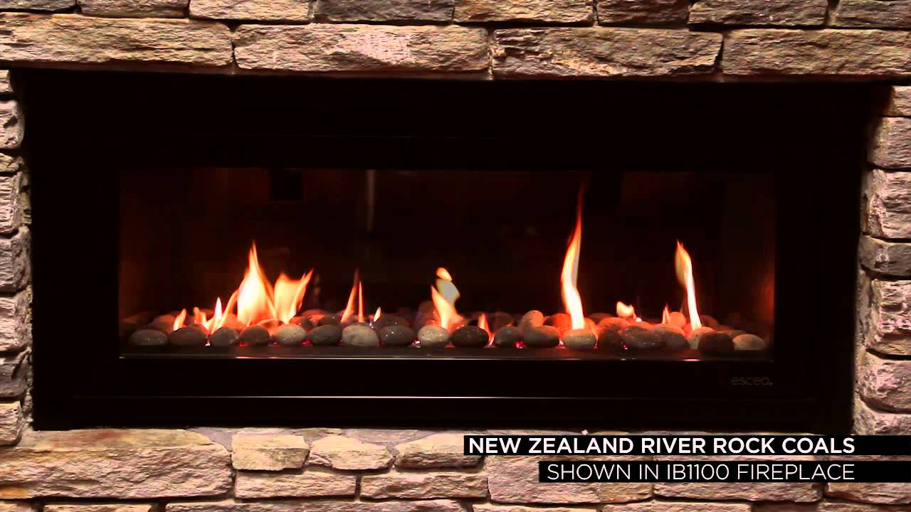 Escea Gas Fires - River rock coals - YouTube