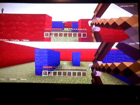 Alex gaming play Minecraft blue vs red (with Adrian boo)
