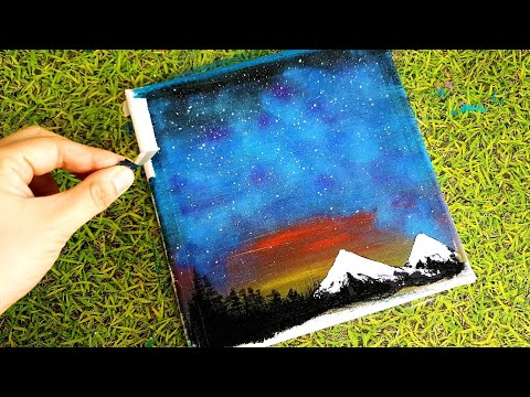 Easy Acrylic / Galaxy Over Mountains Painting / Abstract Painting / Satisfying / Aurora Landscape