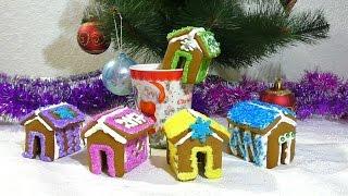 Пряничные домики Как сделать маленькие пряничные домики на кружку  Small gingerbread houses on a mug