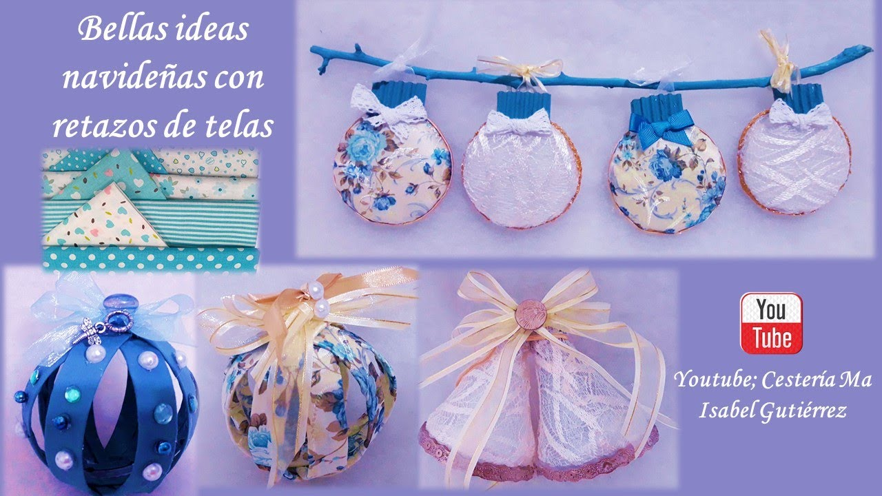 Ideas navideñas hermosas con restos de telas o prendas de vestir. Christmas crafts with fabrics
