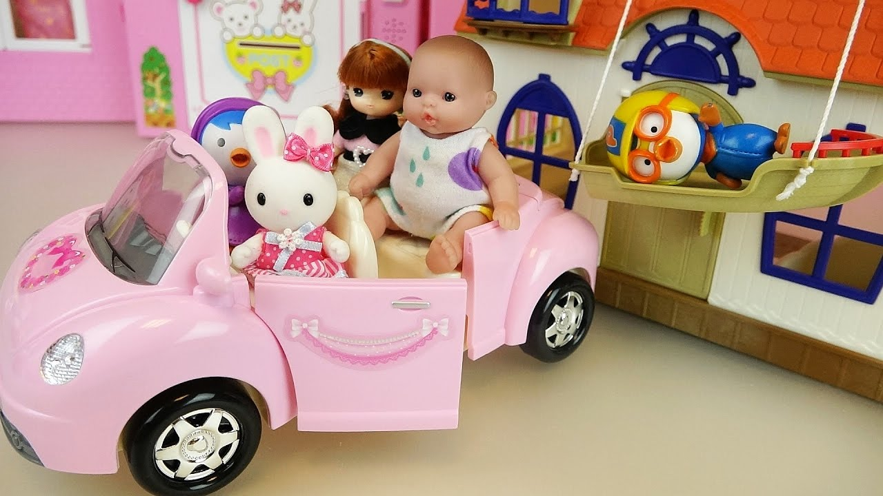 Baby Doll Pink Car And House Pororo Toys Play Youtube
