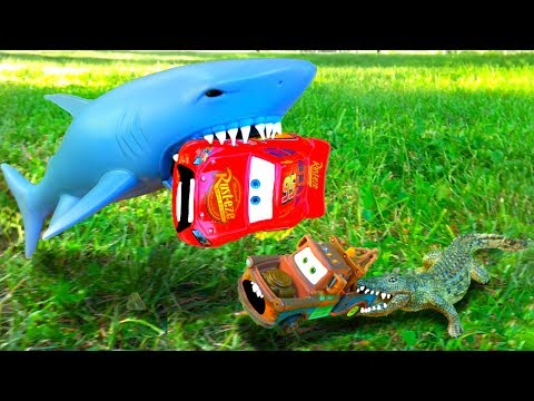 Thumbnail: Disney Cars Lightning McQueen and Friends Mater Sad Giant Shark Alligator Cars Toy Video for Kids