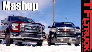 2016 GMC Canyon Duramax Diesel vs Ford F-150 5.0L 0-60 MPH & Towing MPG Mashup Review