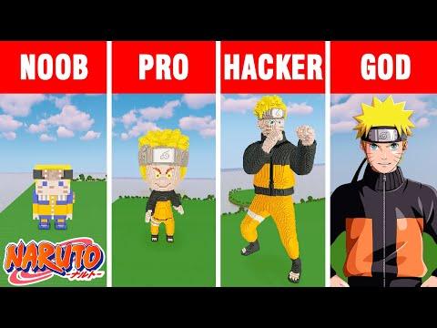 NOOB vs PRO vs HACKER vs GOD: NARUTO UZUMAKI BUILD CHALLENGE in Minecraft