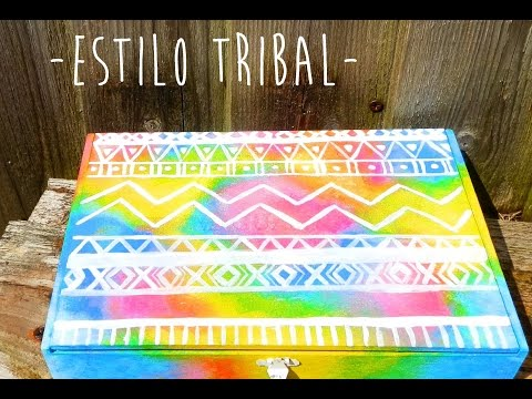 Como pintar cajas de madera estilo tribal how to - Como decorar cajas de madera estilo vintage ...