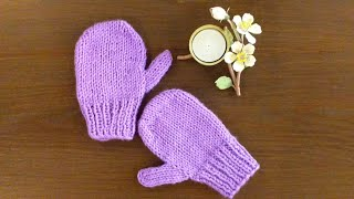 How to knit Mittens with Thumbs for Children / for Left & Right Hand, step by step With Subtitles