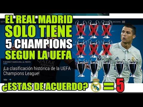 ¿EL REAL MADRID SOLO TIENE 5 CHAMPIONS? | CLASIFICACIÓN OFICIAL DE LA UEFA |
