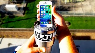 Can a Yeti Cup Protect an iPhone SE from a 100ft Drop onto Concrete?