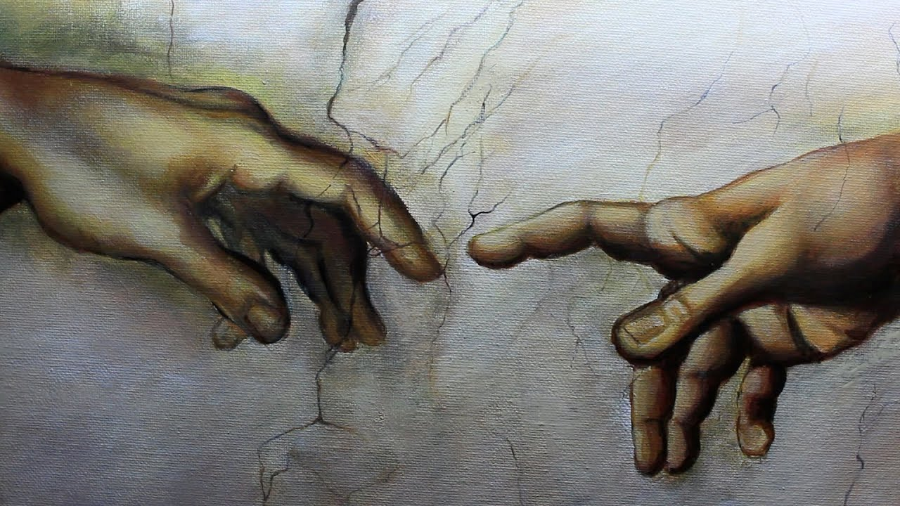 art videos painting a replica of the hands in the creation of adam