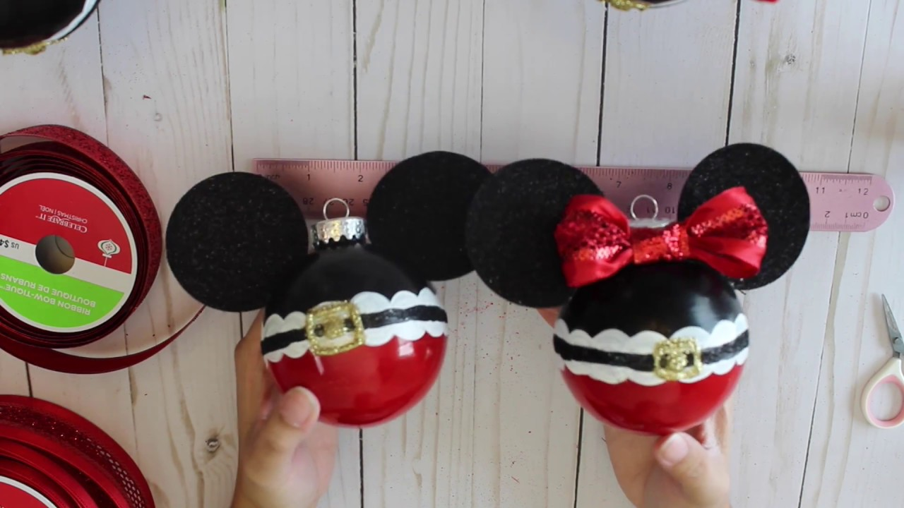 diy mickey and minnie christmas ornament youtube