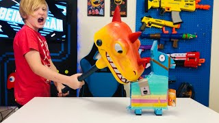 HARVESTING The NEW BIRTHDAY LOOT LLAMA In Real Life Opening Brand New FORTNITE TOYS!! #FortniteIRL