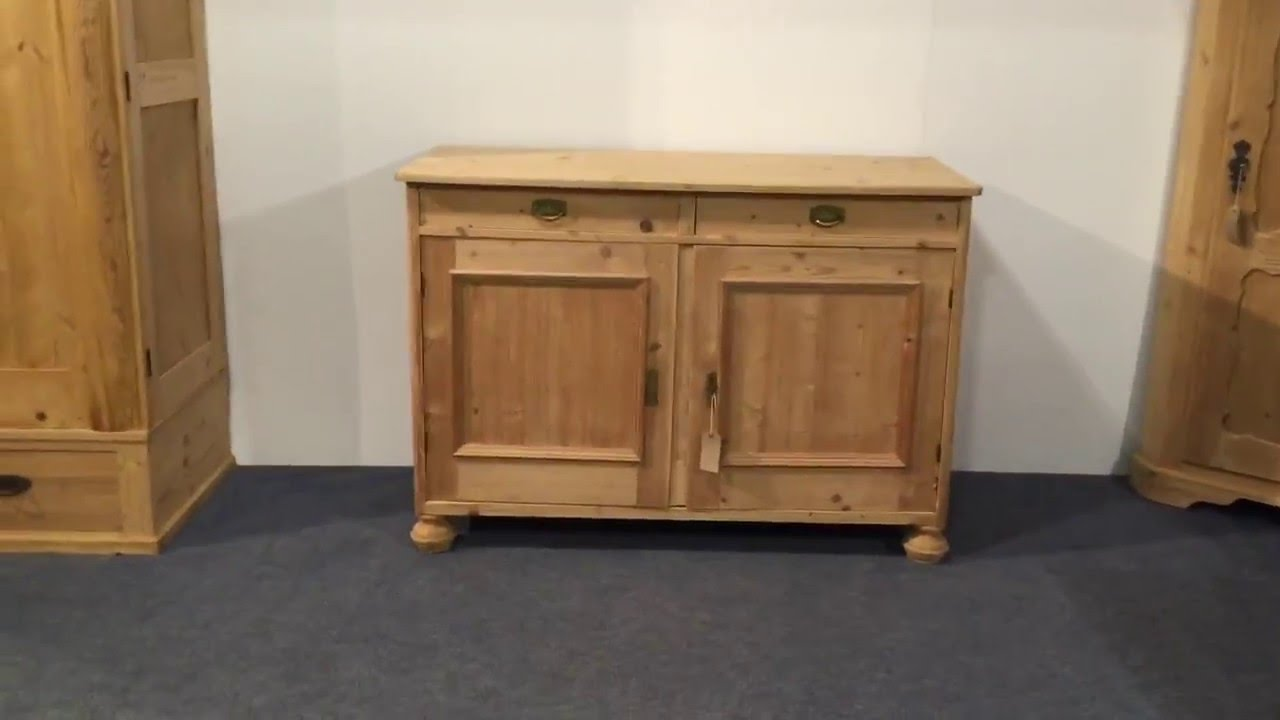 Elegant Large Antique Pine Cupboard With Bun Feet   Pinefinders Old Pine Furniture  Warehouse