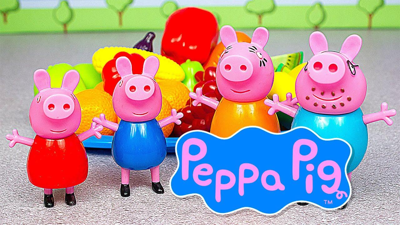 СВИНКА ПЕППА и ДЖОРДЖ изучают овощи и фрукты. Игрушки ...