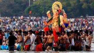गणेश उत्सव मुम्बई: आज गणपति विसर्जन,Juhu Beach Ganapati Ganesh Visarjan Mumbai Maharashtra 2018 LIVE