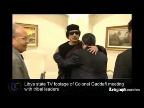 Colonel Gaddafi makes appearance on state TV in Libya for the first time since his son was killed