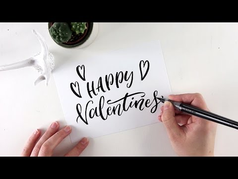 Valentines Day card brush lettering