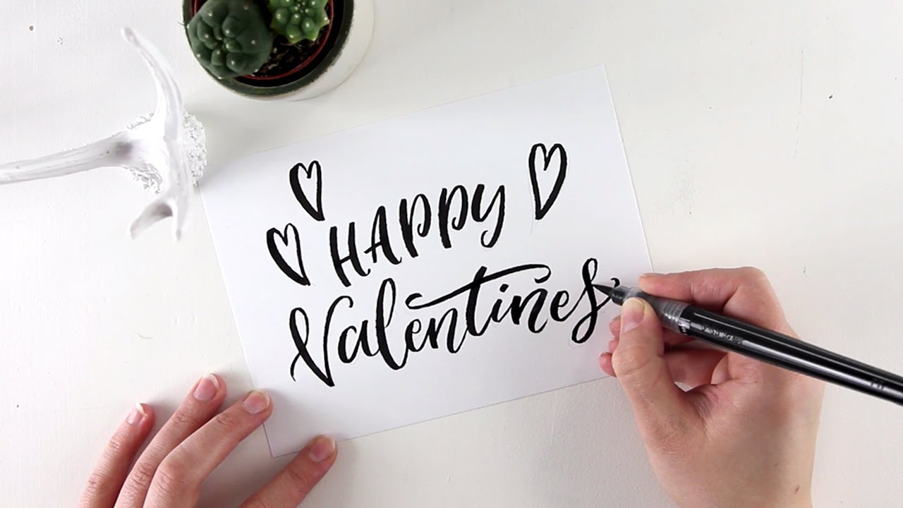 Valentines Day Card Brush Lettering Youtube